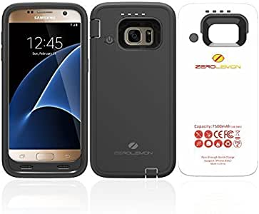Galaxy S7 Battery Charging Case, ZeroLemon Samsung Galaxy S7 7500mAh Ultra Power Extended Battery Rechargeable Rugged Case for Galaxy S7 - Black
