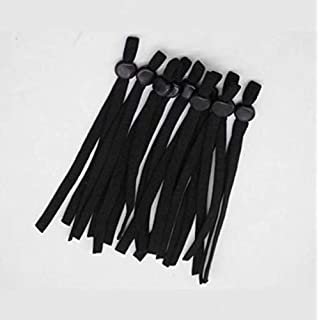 100 Pieces Stretch Cord Flat Elastic Straps with Adjustable Buckle Ear Loops for DIY, Adjustable Straps - Colored Elastic Bands for Sewing 1/5 Inch Wide (5mm) (Black)