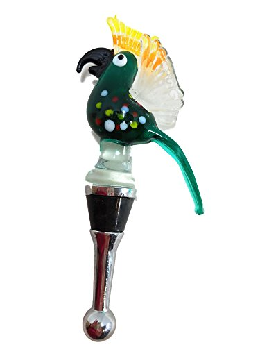 Ayuni Gifts of the World Murano Glass Colorful Parrot on Bottle Stopper