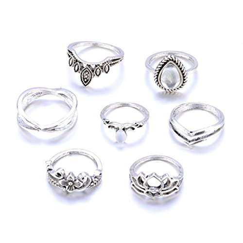 Rings Set for women,Mandystore 5pcs/Set GirlsBohemian Vintage Silver Stack Rings Above Knuckle Blue Rings Set (Silver)