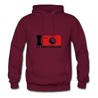 Rosachav Burgundy X-large Custom I Love To Photograph Sweatshirts For Women