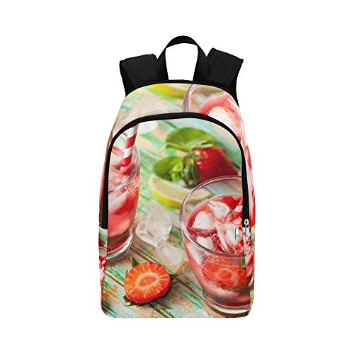 (Refreshing Summer Drink Strawberry Jug Glasses Casual Daypack Travel Bag College School Backpack for Mens and Women)