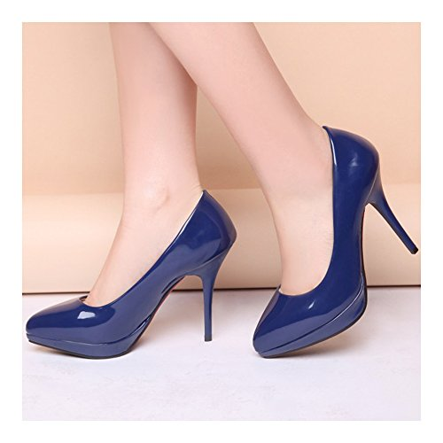 Heel Thin Pointed Work Night Club blue Women Shoes High qw6ngX