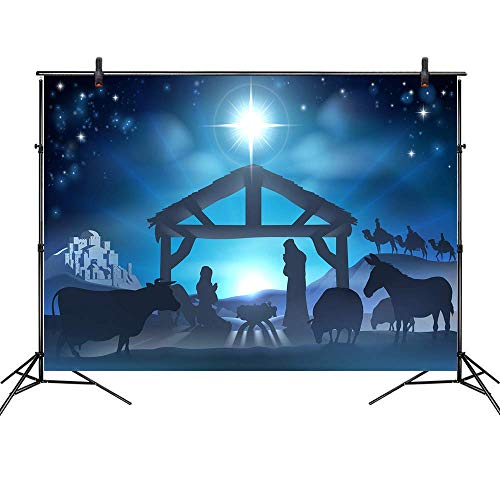 LB Birth of Jesus Backdrop for Photography 9x6ft Poly Fabric Christmas Night Manger Nativity Background Farm Barn Stable Christian Backdrop Customized Photo Background Studio Props (Out Lights Christmas Blurred)