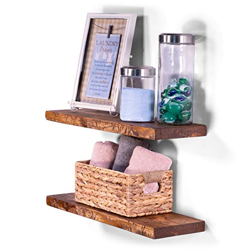 "DAKODA LOVE 8"" Deep Rugged Distressed Floating Shelves, USA Handmade, Clear Coat Finish, 100% Countersunk Hidden Floating Shelf Brackets, Beautiful Grain Rustic Pine Wood (Set of 2) (24"", Buckskin)"