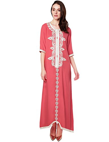 jalabiyas abito lungo rayon islamici musulmano Rosa abaya ricamo con per donne dubai abiti caftano EWWzqwvxFP