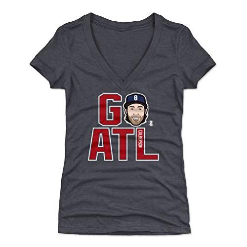 500 LEVEL Charlie Culberson Women's V-Neck Shirt (Large, Tri Navy) - Atlanta Braves Shirt for Women - Charlie Culberson GO ATL R WHT
