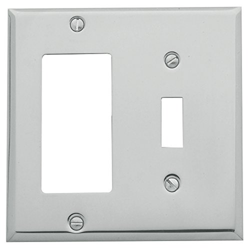 Baldwin Estate 4743.260.CD Square Beveled Edge GFCI Single Toggle Combo Wall Plate in Polished Chrome, 4.5