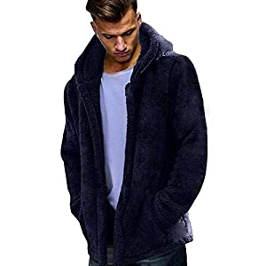 Theshy Fashion Men's Autumn Winter Casual Loose Double-Sided Plush Hoodie Tops Coat Men's Pullover Fleece Hooded Sweatshirt