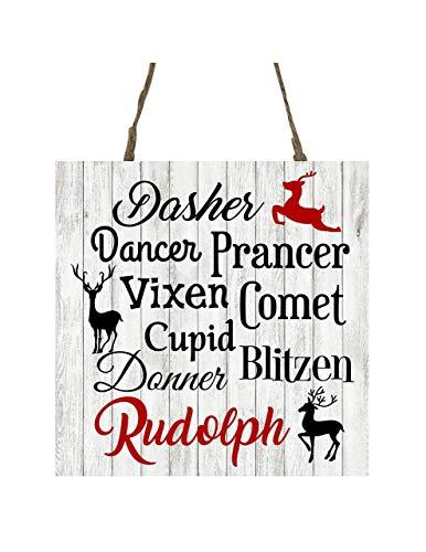 Reindeer Names Printed Handmade Wood Christmas Ornament Small Sign