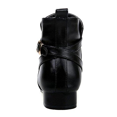 COOLCEPT Mujer Elegante Tacon Bajo Vestir Botas Con Cinturon Black