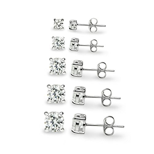 "River Island Jewelry –""5 Pairs"" Sterling Silver Round CZ Stone Cubic Zirconia Basket Stud Earrings 3mm, 4mm, 5mm, 6mm 7mm"