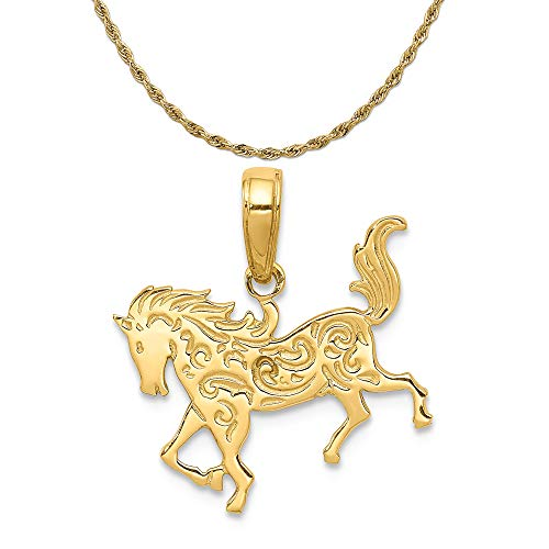 (Mireval 14k Yellow Gold Horse Pendant on a 14K Yellow Gold Rope Chain Necklace, 18