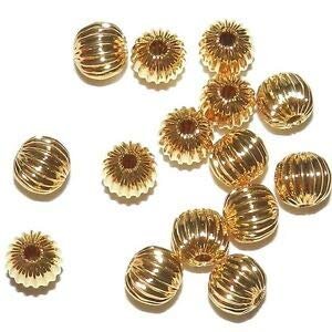 Necklace Beaded Spacers - Steven_store MB561 Gold 6mm Corrugated Round 24-Karat Gold-Plated Metal Spacer Beads 15pc Making Beading Beaded Necklaces Yoga Bracelets