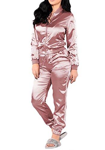 Women's Zip-Up Jacket Pants Tracksuit Sports Joggers Suit Jog Set 2 Piece Pink M