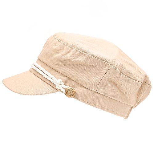 MIRMARU Women's 100% Cotton Greek Fisherman's Sailor Fiddler Hat Cap(47105-BEIGE)