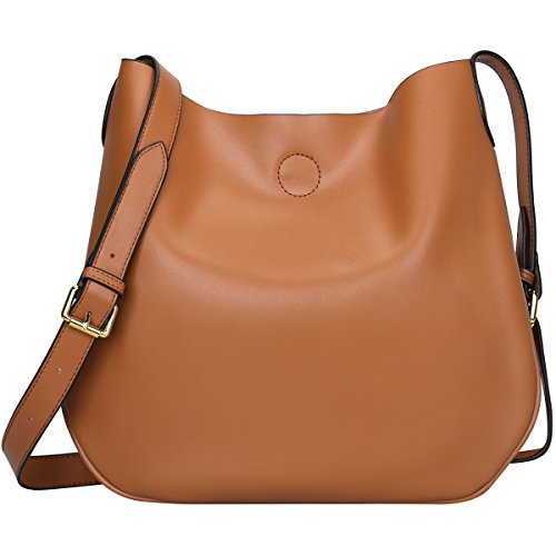 S-ZONE Leather Crossbody Bag Simple Shoulder Bag Drew Purse for Ladies (Light Brown Leather Bag)
