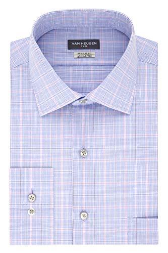 (Van Heusen Men's Dress Shirts Regular Fit Flex Collar Check, Blue Multi, 17.5