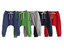 Baby Boys Girls Pants Kid Toddler Cotton Hiphop Harem Pants Infant Sport Jogger,3-4T,100cm tall/ Tag size:110,Grey