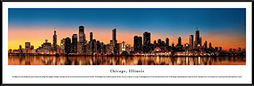 Blakeway Worldwide Panoramas Chicago, Illinois at Sunset - Blakeway Panoramas Skyline Posters with Standard Frame,