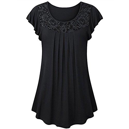TWinmar -Women Solid Tops Row Pleats Ruffled Ruched O-Neck Short Sleeve Blouse Irregular Loose Tunic T-Shirt (Black 2, M) ()
