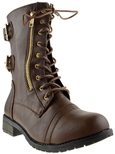 Top Moda Frauen-Pack-72 Lace Up Combat Boot Braun 71
