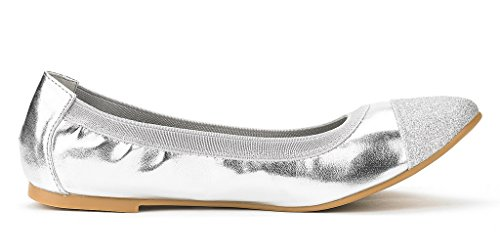 FLEXSOLE Flats Women's New Ballerina PAIRS DREAM Shoes Flexible Silver Lady Comfortable Ballet Elastic 5n6SqvWv