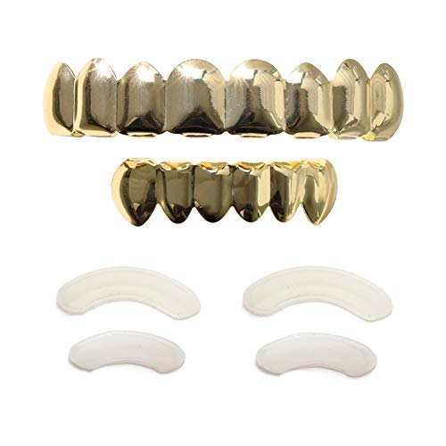 TSANLY 24K Plated Gold Grillz 8 Teeth Mouth Top & Bottom Set Hip Hop Bling Grills for Men + Extra Molding Bars + Microfiber Cloth