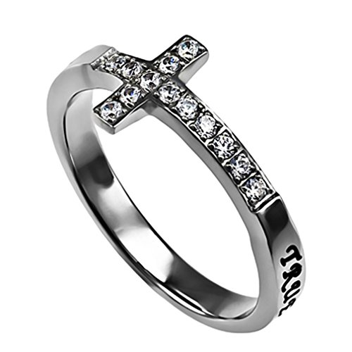 True Love Waits Ring Sideways Cross Purity, Christian Chastity Ceremony, Stainless Steel (5)