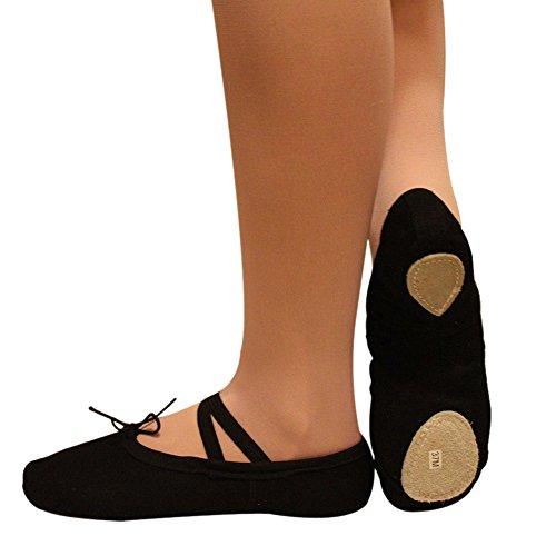 Urparcel Adults Dance Gymnastics Shoes Canvas Slippers Ballet Shoes Black 38