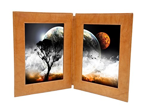 Leather Grain Photo (ASHLIN Full Grain Tuscany Leather Photo Frame, DOUBLE 5x7 Inches Portrait Photos, British Tan [304-18-08])
