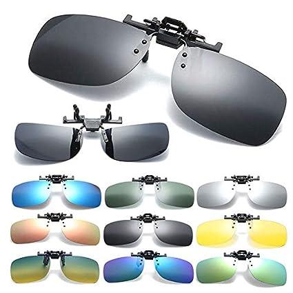 Professional Polarized UV 400 Clip On Sunglasses Deep Green Lens Eyeglasses