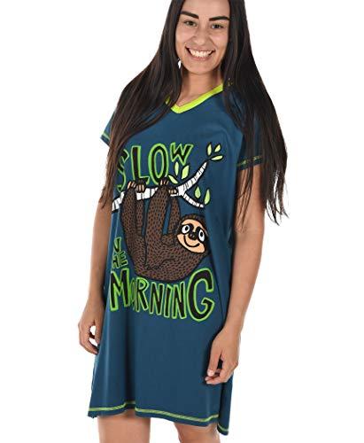 Nightshirt Funny Womens - Sloth Women's Animal Pajama Nightshirt by LazyOne | Cute Animal Nightgowns for Ladies (S/M)