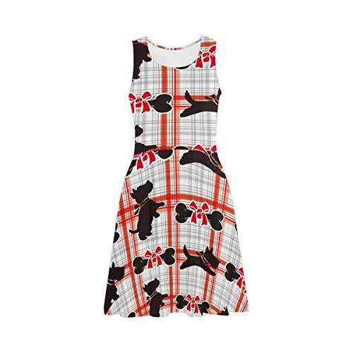 InterestPrint Women's Sleeveless Beach Tank Dresses Scottie Dog Casual Beach Swing Sundress 3XL ()