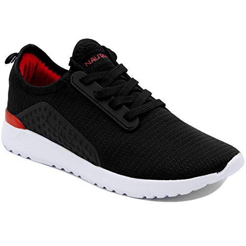 Nautica Kids Boys Sneaker Comfortable Running Shoes-Kaiden Youth-Black Red-2