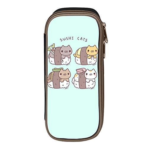 Big Capacity Canvas Key Bag Multi-Colored for Boy,Print Sushi Cats,Black