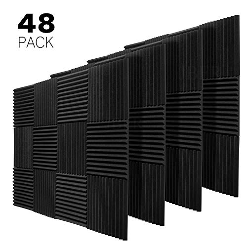 "JBER 48 Pack Charcoal Acoustic Panels Studio Foam Wedges Fireproof Soundproof Padding Wall Panels 1"" X 12"" X 12"""