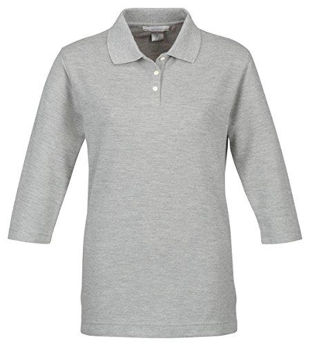 Tri-Mountain Women's 3/4-Sleeve Pique Knit Golf Shirt - Lightweight Pique Polo Golf Shirt