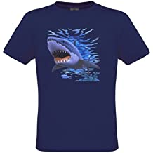 Ethno Designs Kids Sea World Wildlife - Little Boys Aquatic T-Shirt Shark regular fit, size 5-6 years, navy