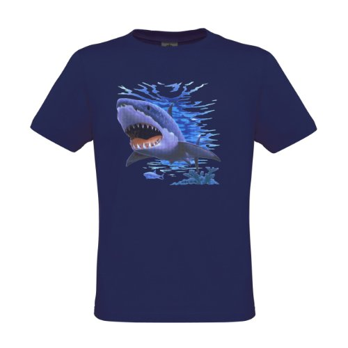 Ethno Designs Kids Sea World Wildlife - Little Boys Aquatic T-Shirt Shark regular fit, size 5-6 years, navy