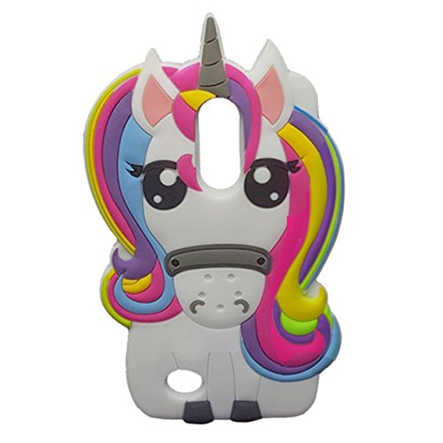 LG Aristo Case, LG Phoenix 3 Case, LG Fortune Case , 3D Cartoon Silicone Cover, Cute Animal Rainbow Unicorn Soft Rubber Back Protector Skin for LG LV3 K8 2017 K4 2017 Colorful Unicorn)