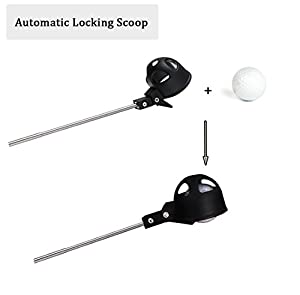 Mazel Telescopic Golf Ball Retrievers Pick up with Automatic Locking Scoop | Rubber Suction Cup Retrievers Tool on Putter Grip