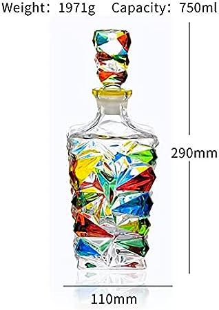 LiChaoWen Set Decanter con Vasos Decantador de Whisky y Gafas Set Crystal Whisky Decanter 750ml con 4 × 300ml Tumblers (Color : Clear, Size : 7 Piece Set)