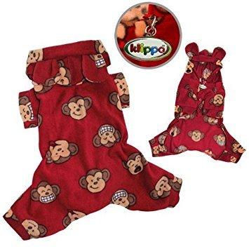 - Adorable Silly Monkey Fleece Dog Pajamas / Bodysuit with Hood Size: Medium, Color: Burgundy