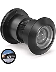 """Door Viewer Security Peek Peephole for Home Office Hotel, Diameter 28mm, Solid Brass 220-Degree Wide Angle Heavy Duty Privacy Cover for 1-9/16"""" to 2-1/8"""" Doors(Matte Black)"""