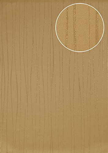Stripes wallpaper wall Atlas ICO-5077-4 non-woven wallpaper smooth design shimmering gold ivory 7.035 m2 (75 ft2)