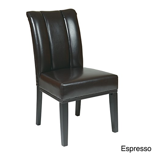 OSP Designs MET89ES Espresso Bonded Leather Parsons Chair (Bonded Leather Parson Chair)