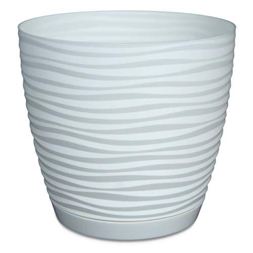 Form Plastic Modern White Plastic Flower Pot 2 Pack Fiberglass