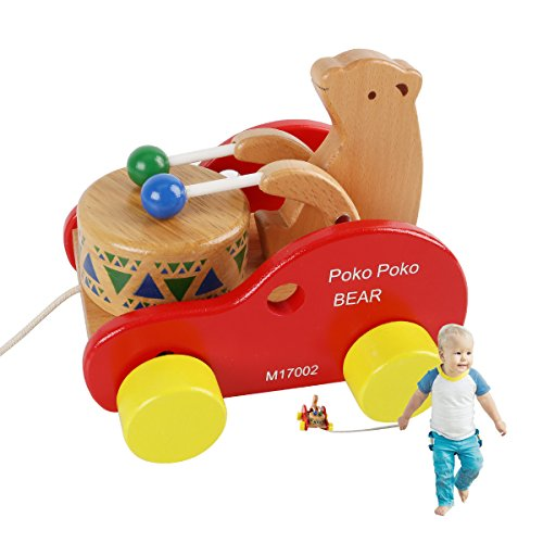 Bear Pull Toy - JouerNow Walk-A-Long Bear Knock the Drum Wooden Push and Pull Toy