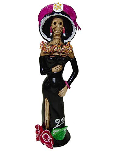 LYTIO Catrina Hand Crafted Collectible Figurine Dia de Los Muertos (Day of The Dead) (Black with Pink Details)
